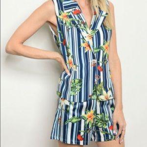 Chicways Tropical Floral Stripe Vest & Short Set